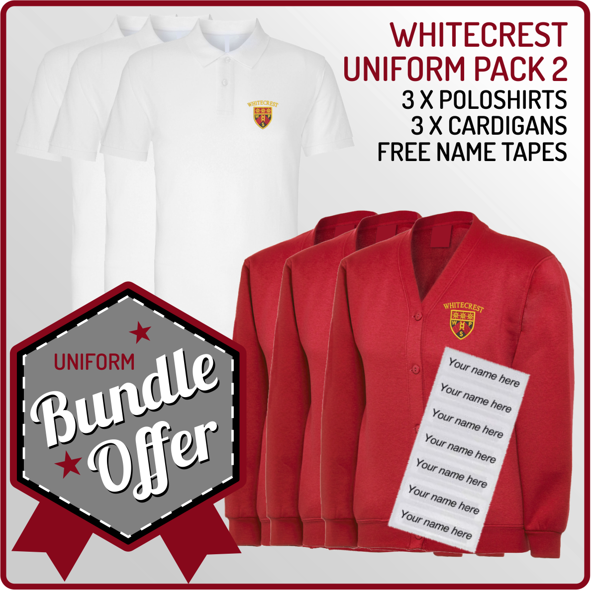 Bundle offer of 3 Cardigans  & 3 Poloshirts - includes FREE name tapes!