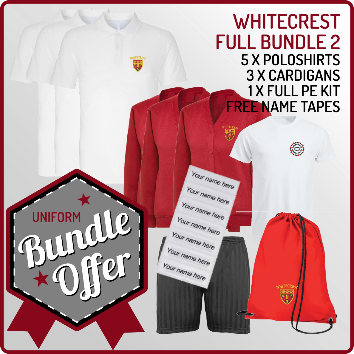 Bundle offer of 5 Poloshrts, 3 Cardigans, PE T, Shorts and PE Back - includes FREE name tapes!